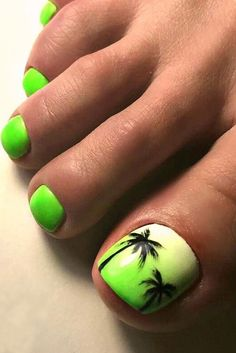 Best Toe Nail Art Ideas for Summer 2018 Tropical Nail Art designs for Toes p Pretty Toe Nails, Cute Toe Nails, Toenail Art Designs, Pedicure Designs, Summer Toe Nails, Beach Nails, Green Toe Nails, Toenail Art Summer, Beach Holiday Nails
