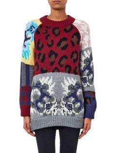 Tak.Ori Leopard and floral intarsia-knit sweater