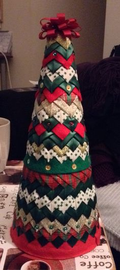 Quilted christmas ornament tree by lisa kinsey