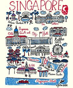 Julia Gash illustration map of Singapore