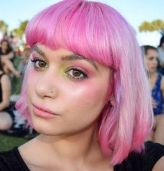 IG's @evicitta is perfectly primped for a summer music festival! We #LOVE how this beauty softened a severe Mia Wallace #haircut with sweet and innocent candy-colored locks. To get the best #pastel color, we recommend using a whole jar of #Pastelizer and just a few drops of dye. Steal her eye shadow colors with our Love Colors in #ElectricBanana and our powder shadow in #PussyGalore.