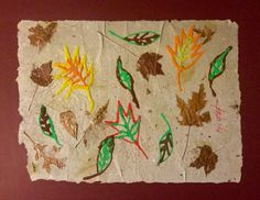 Abstract Sand Painting of Leaves on Handmade Paper, 18 X 24, Signed