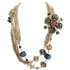 Rare Vintage Chanel Gripoix / Pate de Verre Belt / Necklace | From a unique collection of vintage multi-strand-necklaces at https://www.1stdibs.com/jewelry/necklaces/multi-strand-necklaces/