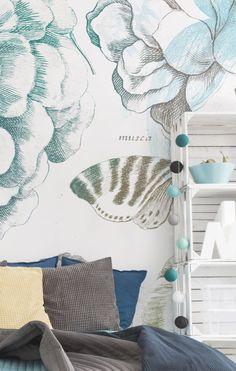 Vintage Floral Water Color Wall Mural #homedecor #interior #floral #wallpaper #vintage #wallmural