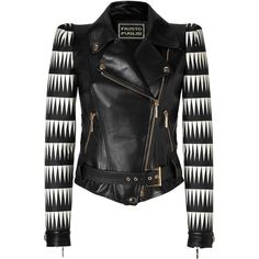 FAUSTO PUGLISI Black/White Combo Leather Jacket ($3,955) ❤ liked on Polyvore