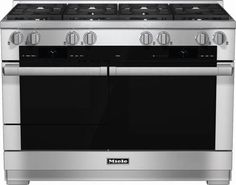 Pro-Style Dual Fuel Natural Gas Range with 6 Sealed M Pro Dual Stacked Burners M Pro Griddle TwinPower Convection Fan Oven Self-Clean 21 Operating Modes Warming Drawer and ComfortSwivel Handle in Stainless Steel 48 Inch Range, 48 Range, Oven Range, Lustre Rose, Spot Sur Rail, Ranger, Stainless Steel Oven, Range Cooker, Trendy Tree