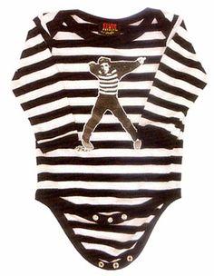 Elvis Presley- Jailhouse Rock on a black & white striped long sleeve onesie