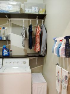IHeart Organizing: Reader Space: Design Build Love Laundry; laundry makeover with neat storage ideas.