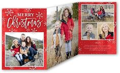 Peaceful Merry Flurries 5x7 Tri-Fold Christmas Card by Yours Truly