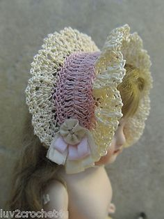 "VICTORIAN STYLE CROCHETED HAT FOR 6 1/2-7"" ALL BISQUE DOLL* by Tina (05/24/2014)"