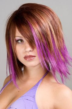 short hair purple tips | hair with purple dyed tips this is a fun party hairstyle as the hair ...