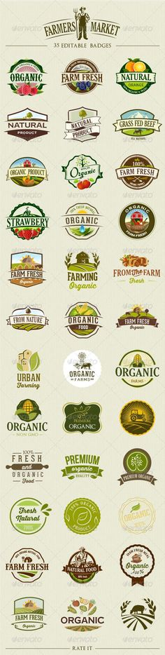 """Buy 35 Organic Food Labels and Badges by on GraphicRiver. 35 organic and """"farm fresh"""" food labels and badges. File Includes AI CS, EPS EPS CS and high-res JPG file. Food Design, Web Design, Organic Logo, Organic Brand, Farm Logo, Logo Food, Food Labels, Organic Farming, Food Packaging"""