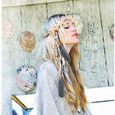 Modern hippie style headband feather headdress, boho chic beach fashion. For the BEST Bohemian trends with a gypsy allure FOLLOW >>> http://www.pinterest.com/happygolicky/the-best-boho-chic-fashion-bohemian-jewelry-gypsy-/