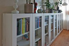 When it comes to hacking beautiful storage, no other IKEA product works a room like the BILLY bookcase. Here are 19 of the best BILLY bookcase builds. Ikea Bookcase With Doors, Low Bookshelves, Wide Bookcase, Bookcase Behind Sofa, Bookcase White, Ikea Shelves, Shelving, Billy Ikea Hack, Ikea Billy Bookcase Hack