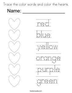 Trace the color words and color the hearts Coloring Page - Twisty Noodle