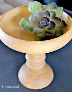 repurposed wooden pedestal bowls - individual salad bowls glued E6000 on top of wooden candlesticks, painted, waxed