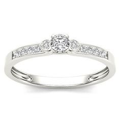 Amouria Diamond 10K White Gold 1/5 ct tw Diamond Engagement Ring