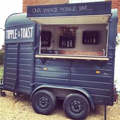 See how we& created our vintage mobile bar in Nottingham. Heston the horse box bar has undergone an amazing transformation over the past few months! Catering Trailer, Food Trailer, Food Trucks, Coffee Carts, Coffee Shop, Horse Box Conversion, Coffee Food Truck, Prosecco Van, Glamping