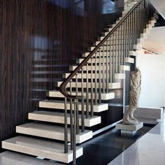 Walking on air. Gorgeous #cantilever stairs via @archdigest.