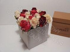 Flower box, pudełko na kwiaty białe, karbowane
