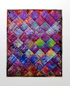 Quilted Wall Hanging Fiber Art Quilt Hand Dyed by SallyManke