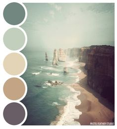 Pastel Feather Studio: BEACH PALETTE - color palette ►more find here: pastefeatherstudi. Pastel Feather Studio: BEACH PALETTE - color palette ►more find here: pastefeatherstudi. Paint Schemes, Colour Schemes, Color Combos, Colour Combinations Interior, Basement Color Schemes, Beach Color Schemes, Beach Color Palettes, House Color Palettes, Pantone Colour Palettes