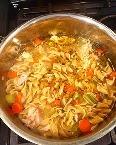 Chrissy Teigen's chicken noodle soup. This was a huge hit at our house last night and a perfect remedy for a sore throat.