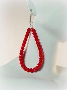 #holidaygift #redbeadedearrings The Red Beaded Bead Hoop Earrings Featuring by DesignedByAudrey, $23.00 https://www.etsy.com/listing/171833482/the-red-beaded-bead-hoop-earrings?ref=teams_post