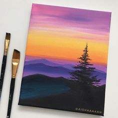 Small Canvas Paintings, Easy Canvas Art, Small Canvas Art, Mini Canvas Art, Easy Canvas Painting, Sunset Acrylic Painting, Easy Nature Paintings, Sunset Paintings, Simple Acrylic Paintings