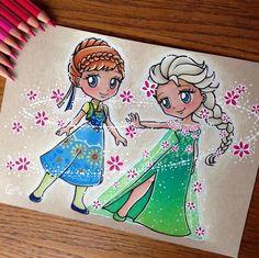 Anna & Elsa (Chibis by Ltia_Chan @Instagram) #FrozenFever