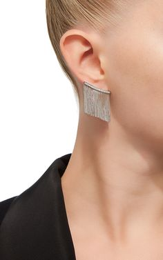 Love NY Large Fringe Earrings in White Gold with Diamonds
