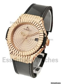 Hublot Big Bang Gold Caviar in Rose Gold with Diamond Bezel - On Black Leather Strap