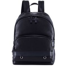 Prada Classic Calf Leather Backpack ($1,850) ❤ liked on Polyvore featuring men's fashion, men's bags, men's backpacks, black and prada mens backpack