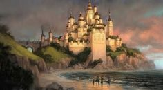 Oh look, it's Cair Paravel ^.^ Cair Paravel = lesser court, meaning I believe the kings and queens ruling were still under Aslan. - This, and love this illustration. Fantasy Places, Fantasy World, Fantasy Art, Cair Paravel, Narnia 3, Narnia Cast, Fantasy Castle, Chronicles Of Narnia, Fantasy Landscape
