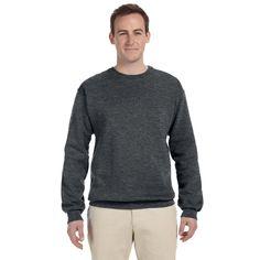 50/50 Nublend Fleece Men's Crew-Neck Charcoal Sweater