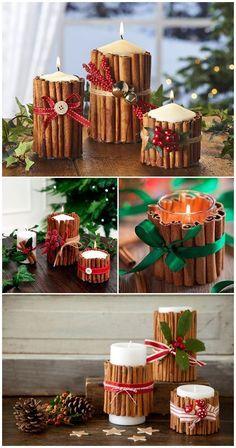 Christmas candles with cinnamon sticks