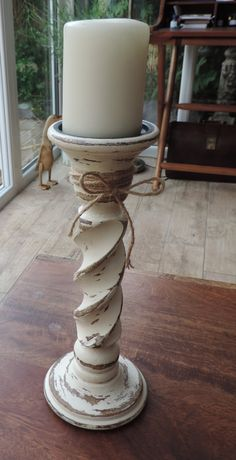 Up cycled rustic candlestick / candelabra , wooden painted with a cream chalk paint and waxed to protect the wood by bespokebydionne on Etsy