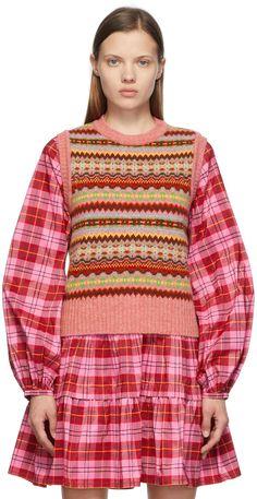 Molly Goddard: Pink Fair Isle Bibi Vest | SSENSE 10 Item Wardrobe, Wool Vest, Graphic Patterns, Rib Knit, Christmas Sweaters, Women Wear, Knitting, Pink, Collection