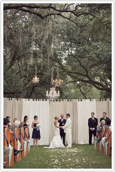 I really like the idea of drapes in an out door wedding. Really highlights the space