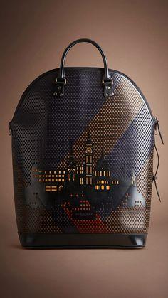 London cityscape leather handbag by Burberry.