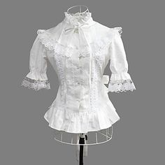 Long Sleeve White Cotton Princess Lolita Blouse with Lace – USD $ 73.99
