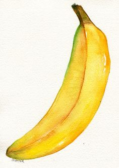 BIG Yellow Banana original watercolor Painting by SharonFosterArt, $15.00