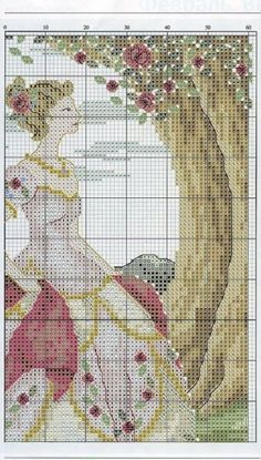 0 point de croix femme robe aux roses rouges - cross stitch lady dress with red roses part 3 Cross Stitch Angels, Just Cross Stitch, Cross Stitch Heart, Modern Cross Stitch, Cross Stitch Designs, Cross Stitch Patterns, Cross Stitching, Cross Stitch Embroidery, Cross Stitch Numbers