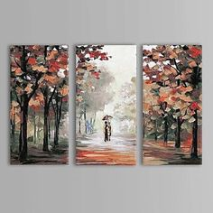 Oil Painting Landscape Couples Walk in The Rain with Stretched Frame Set of 3 Hand-Painted Canvas Three Canvas Painting, Multiple Canvas Paintings, Hand Painted Canvas, Modern Canvas Art, Modern Art, Watercolor Landscape, Landscape Paintings, Abstract Landscape, Acrylic Art