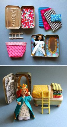 mommo design: Mint tin Princess and the Pea play set Kids Crafts, Felt Crafts, Diy And Crafts, Craft Projects, Sewing Projects, Sewing Tips, Wood Crafts, Paper Crafts, Operation Christmas Child