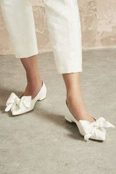 White Bow Bridal Flat Shoes | One Fab Day Wedding Shoes Bride, Wedding Boots, Flat Wedding Shoes, Best Bridal Shoes, Bridal Flats, Clogs, Sparkly Flats, Exclusive Shoes, Kinds Of Shoes