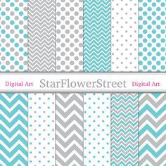 Instant Download - Chevron Polka Dot Digital Paper Scrapbook Background - small large patterns aqua turquoise blue grey gray scrapbooking. $3.50, via Etsy.