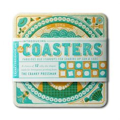 The self-promotional designs featuring senior citizens of a beach community, were done in collaboration with Parliament of Owls to launch their new letterpress imprintable die-cut coaster line titled The Coasters. The coasters were letterpress printed in Pantone 325 Green-Blue and Pantone 142 Orange on 60 point Pulp Board stock. See the rest on the Cranky Pressman's blog.