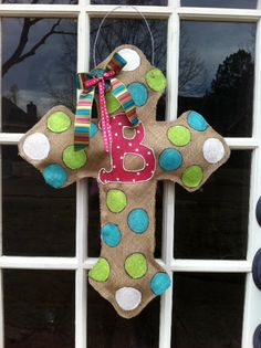 Gothic Cross Burlap Door Hanger by BrunsonBerryPaints on Etsy, $35.00
