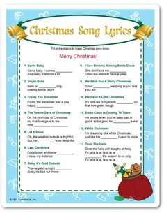bb posted Christmas Song Lyrics fill-in-the blanks game. I bet this would bring some laughs! :) to their -christmas xmas ideas- postboard via the Juxtapost bookmarklet. Christmas Quiz, Christmas Trivia, Merry Christmas, Christmas Party Games, Xmas Party, Christmas Activities, Christmas Printables, Family Christmas, Christmas Traditions